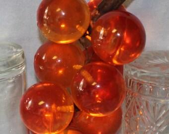 Large Grape Cluster on Wood Stem Acrylic Lucite Amber Orange Table Decoration
