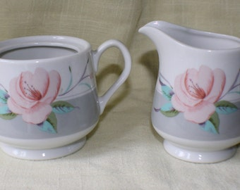 Victorian Rose Cream and Sugar Bowl by Saltera Hi Mark Japan 1985
