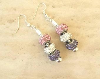 Pink White Purple Silver Rhinestone Beads Dangle Drop Earrings
