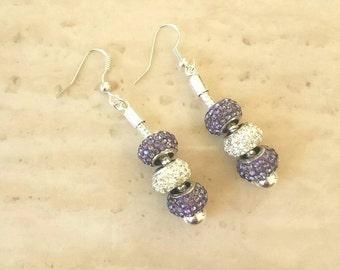 Purple White Silver Rhinestone Beads Dangle Drop Earrings