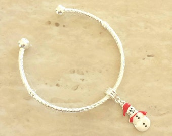 Snowman Charm Silver Plated Lined Bangle Bracelet 7.5 Inches