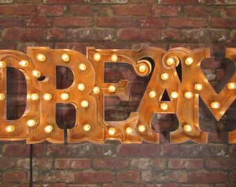 Marquee light up 'DREAM' sign