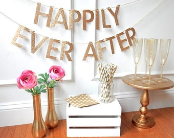 Happily Ever After Banner - Wedding Banner - Bridal Shower Banner - Fairytale Wedding - Sweetheart Table