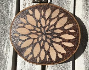 Wood Burned Flower wall art, pyrography
