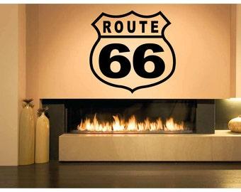 Wall Vinyl Sticker Decals Mural Room Design Pattern Art Decor Route 66 Road Highway USA Way bo2084