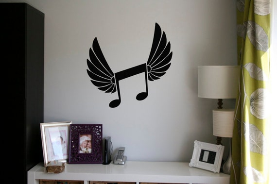 Music Note Angel Wings by RoomDecalsAndDesigns