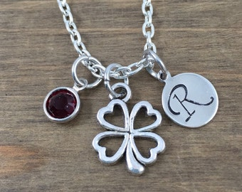Personalized Shamrock Necklace - Hand stamped Monogram Four Leaf Clover Necklace - Initial, Birthstone Necklace