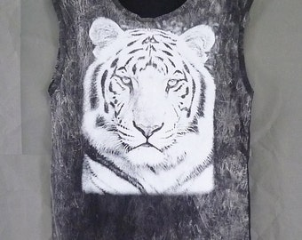 Tiger shirt Bengal tiger sleeveless top men women bleach shirts/ animal clothing/ tiger tops size M L XL unisex clothings