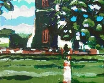 "Original Fine Art Acrylic Landscape Painting on Canvas 12""x24"" by Simon Bramble, Acrylic Expressionist Painting, Impressionism Painting Art"