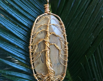 Wire-wrapped tree of life pendant