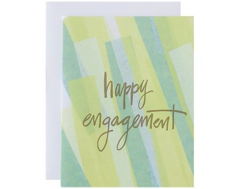 "Letterpress Engagement Card, ""Happy Engagement"", Gold Metallic, Hand Lettering, Modern"