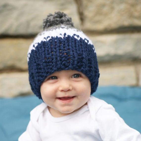 Knitted Baby Girl Pom Pom Hat Newborn Baby Fair Isle Hat