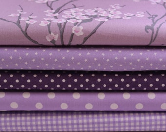 Lavender Fat Quarter Bundle - 100% Cotton, Cotton Poplin Fabric Bundle