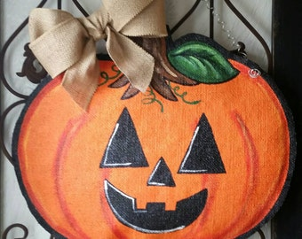 Jack O'Lantern Pumpkin Burlap Door Hanger Halloween Decoration