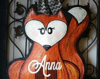 Woodland Fox Burlap Door Hanger Decoration. Nursery or  Childs Room Decoration
