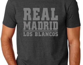 Real Madrid Los Blancos Gray Soccer T Shirt Custom