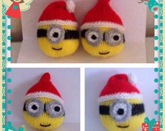 Minion Christmas Tree Bauble Knitting Pattern