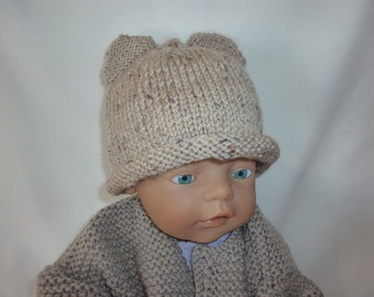 Newborn baby hat. Knitted hat for baby. Baby boy hat. Baby girl hat. Baby hat with ears. Baby bear hat. 0 to 3 month baby hat. Baby beanie.