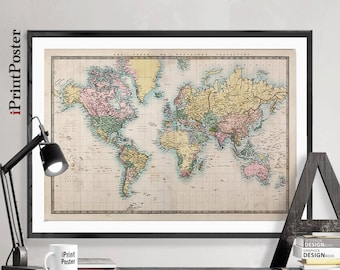 Vintage world map, Art Print, 1850 old world map, World map poster, Art, 1850's world map, Large world map print, Home Decor, iPrintPoster.