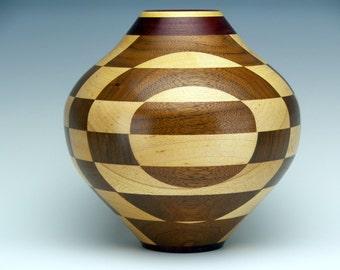 Decorative Wood Vase Dry Flower Vase Segmented Turning Hand