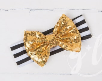 Black and gold sequin headband, black and white headband with sequin bow, gold sequin bow,  toddler headband, Sequin bow headband