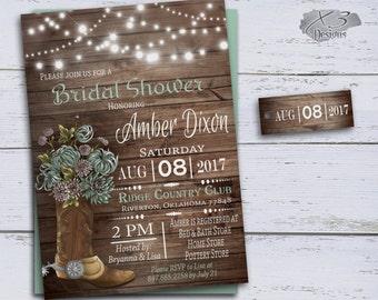 Country Bridal Shower Invitations, Cowboy Boots Wedding Shower, DIY Bridal Invites Printable, Rustic Wedding Shower Mint Green String Lights