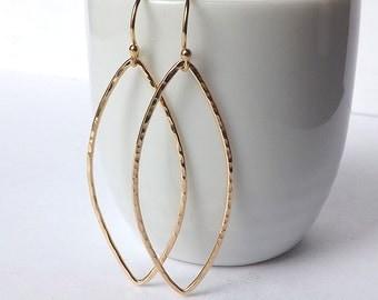 Gold Almond Hoop Earrings Yellow Gold Filled Marquise Long Dangle Leaf Hoops Long Minimal Earring Womens Jewelry
