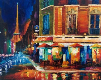 "36"" x 48"" Abstract Streets of Paris. Hand painted oil on canvas-stretched."