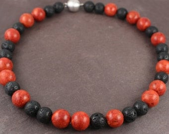 Coral and lava, black red combination