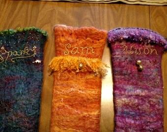 Embellished wet felted Christmas stockings