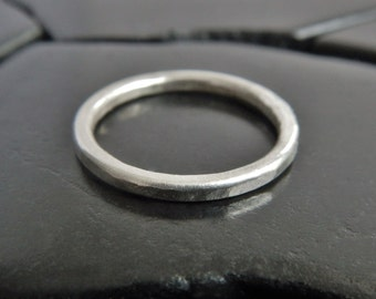 Simple Sterling Silver Band - 2mm Band - Hammered Silver Ring - Minimalist Ring - Silver Stack Ring - Unisex Ring - Everyday Ring