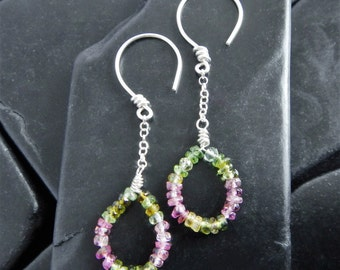 Long Tourmaline and Sterling Silver Drop Earrings - Ready to Ship - Pink Tourmaline - Green Tourmaline - Dangle Earrings - Long Earrings