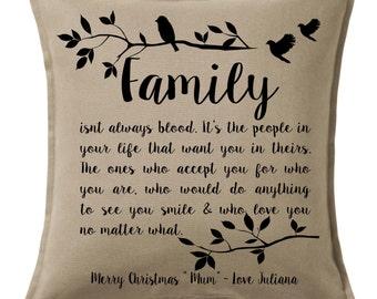 FAMILY isnt ALWAYS BLOOD Friendship Bond Christmas Custom Personalised Cushion Pillow Family Established Date Ancestry Keepsake Heirloom
