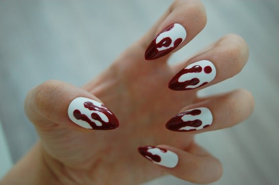 White OR Clear Base Dripping Blood Stiletto Nails Set of 20