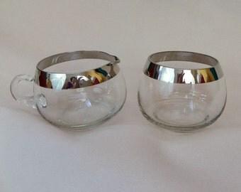Silver Rimmed Creamer and Sugar - Mid Century Modern