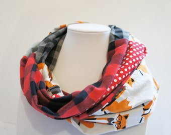 Infinity scarf with foxes, scarf with Buffalo Plaid, red, black, gray, woman scarf, hipster scarf, patchwork scarf, quilt scarf, fall scarf
