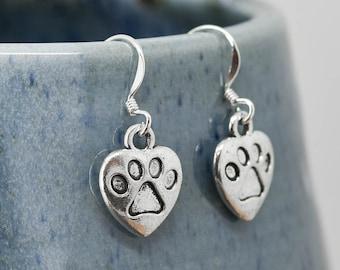 Dog Paw Earrings, Silver Earring, Dog Jewelry, Charm Earrings, Bridesmaid Gift, Animal Earring, Bridesmaid Jewelry, Bridesmaid Gift