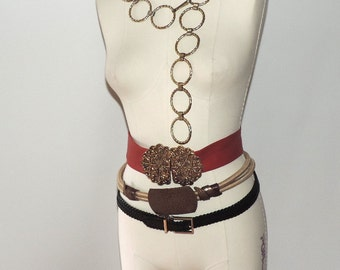 5 vintage 80s 90s ladies belts assorted size M red leather copper art chain belt
