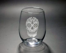 Sugar Skull Stemless Wine Glass - Dia de los Muertos Glass - Mexican Skull Glass - Day of the Dead Glass - Bridal Sugar Skull Glass
