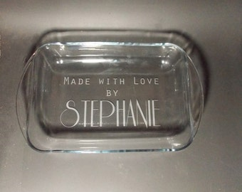 Personalized etched casserole dish - Casserole Dish Gift - Housewarming Casserole Dish - Moving Gift - New House Gift - Wedding Gift