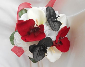 Brides maids bouquet black and red orchids ,round bouquet with white roses calla lilies 8 pieces