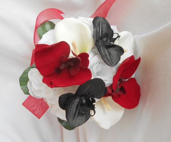 Black and red orchids ,round bouquet with white roses calla lilies bridal bouquet 2pc