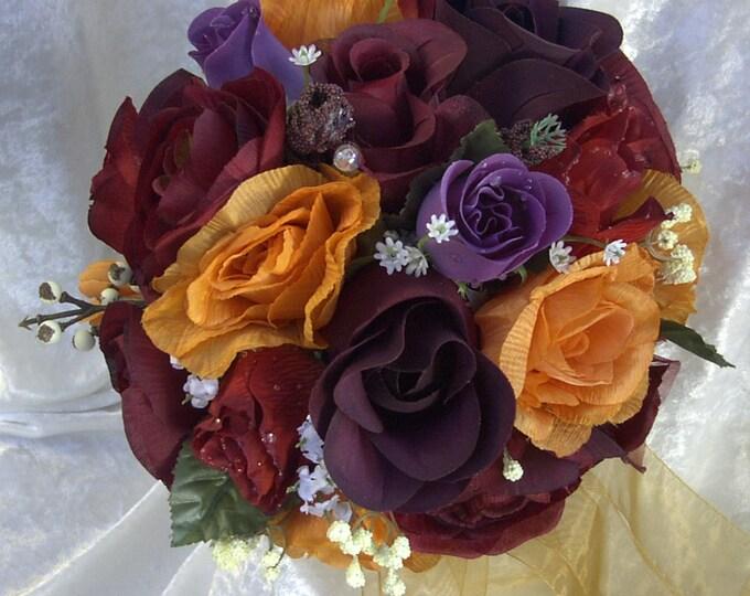 Fall Brides maids bouquet royal purple, burgundy , orange. 7 pieces