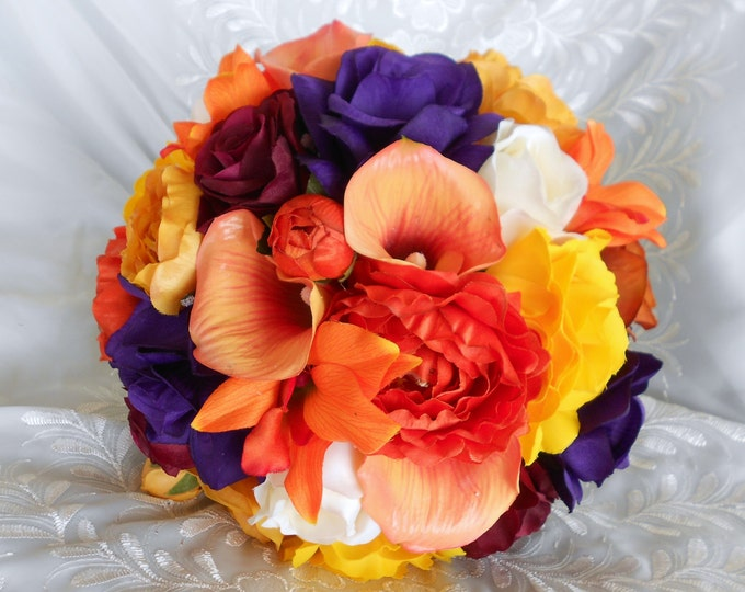 Fall silk wedding Bouquet bridal set Callas, orchids, yellow, orange ,burgundy ivory and plum 15 pc