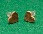 Wood Heart Earrings, natural wood earrings, real walnut maple earrings, silver studs earrings, wooden jewelry,girlfriend gift,Valentine Gift