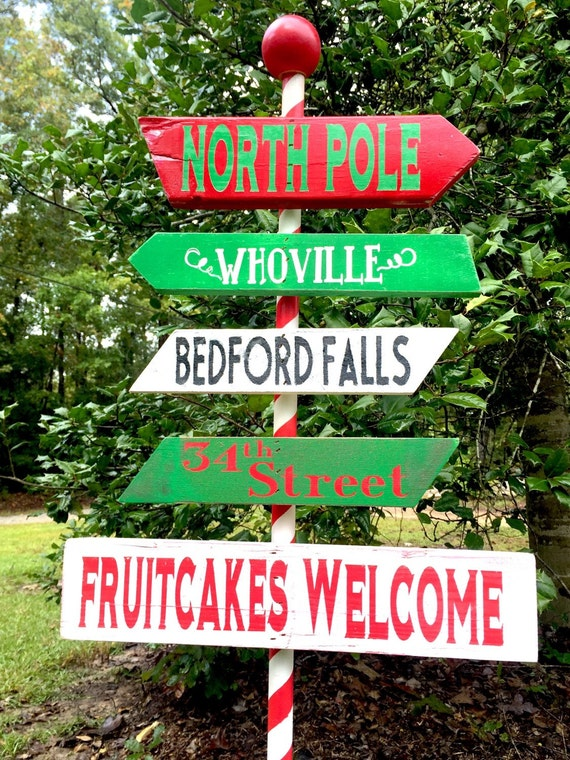 Items similar to personalize north pole sign yard sign for Homemade christmas yard signs