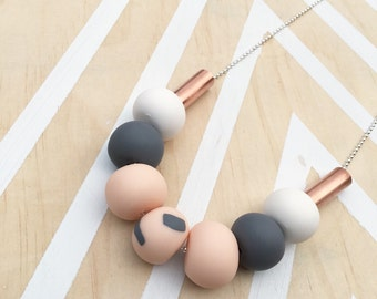 """Polymer clay bead necklace. Neutrals with copper beads """"THE EDEN"""""""
