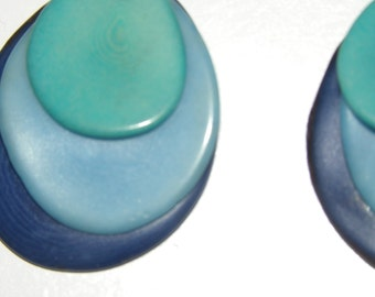 dangle drop earrings earhooks with blue tagua nut slices from the rainforest ecologic fairtrade