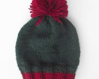 Custom knit pompom hat, boys knit hat, toddler hat, pompom knit hat, kids knit hat, beanie, slouchy beanie knit hat Custom Colors Avaliable
