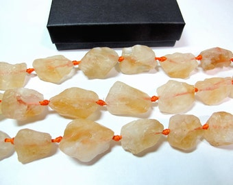 Citrine nuggets, Citrine crystal beads, Rough healing stone, Full strand